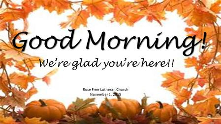 Good Morning! Rose Free Lutheran Church November 1, 2015 We're glad you're here!!