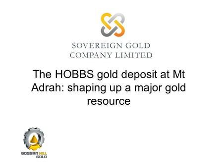 The HOBBS gold deposit at Mt Adrah: shaping up a major gold resource.