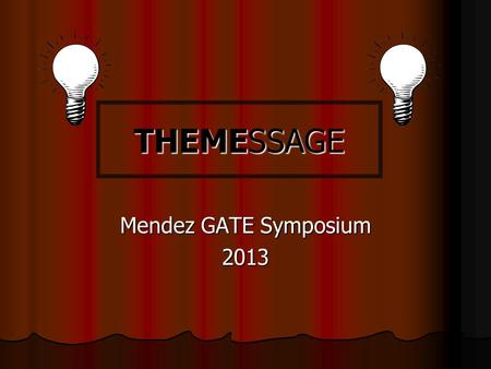 Mendez GATE Symposium 2013 THEMESSAGE. What is a Symposium? A chance for our Honors students to show what they are interested in. A chance for our Honors.