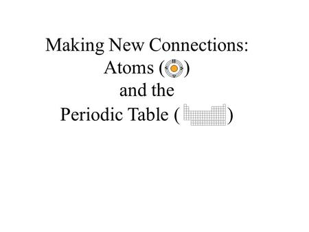 Making New Connections: Atoms ( ) and the Periodic Table ( )