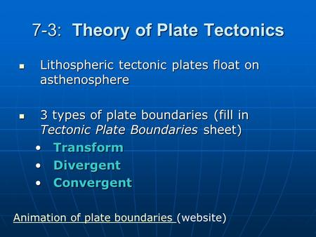 7-3: Theory of Plate Tectonics Lithospheric tectonic plates float on asthenosphere Lithospheric tectonic plates float on asthenosphere 3 types of plate.