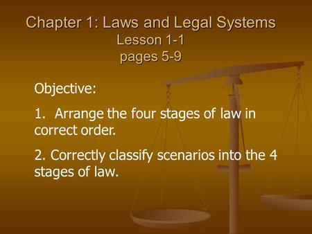 Chapter 1: Laws and Legal Systems Lesson 1-1 pages 5-9 Objective: 1. Arrange the four stages of law in correct order. 2. Correctly classify scenarios into.