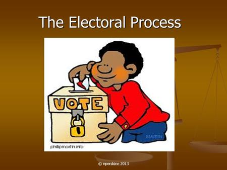 The Electoral Process © nperskine 2013. In the United States, the election process occurs in two steps: 1. Nomination, in which the field of candidates.