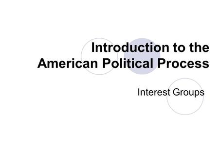 Introduction to the American Political Process Interest Groups.