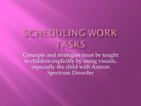 Concepts and strategies must be taught to children explicitly by using visuals, especially the child with Autism Spectrum Disorder.