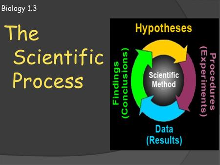 Biology 1.3 The Scientific Process. Scientific Process  Steps of the Scientific Process 1. Identify the Problem 2. Gather information 3. Form Hypothesis.