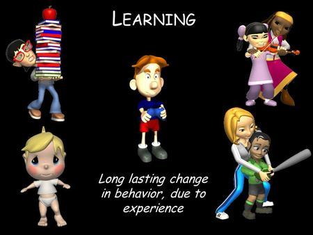 L EARNING Long lasting change in behavior, due to experience.
