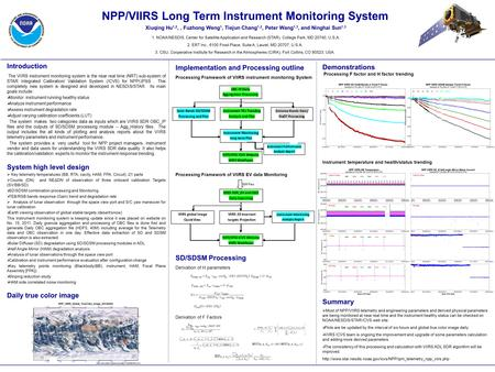 Implementation and Processing outline Processing Framework of VIIRS instrument monitoring System Processing Framework of VIIRS EV data Monitoring SD/SDSM.