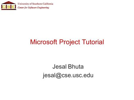 Microsoft Project Tutorial Jesal Bhuta