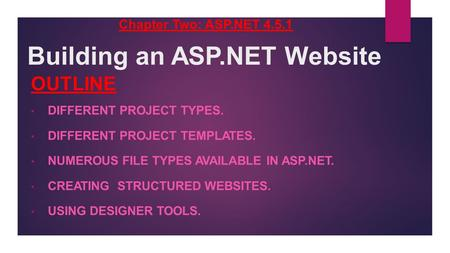 Building an ASP.NET Website OUTLINE DIFFERENT PROJECT TYPES. DIFFERENT PROJECT TEMPLATES. NUMEROUS FILE TYPES AVAILABLE IN ASP.NET. CREATING STRUCTURED.