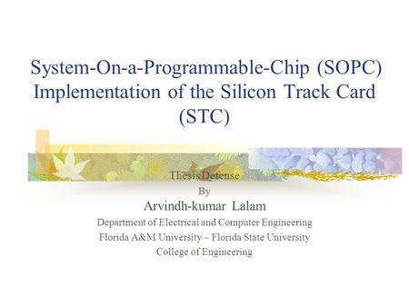 Thesis on system on chip