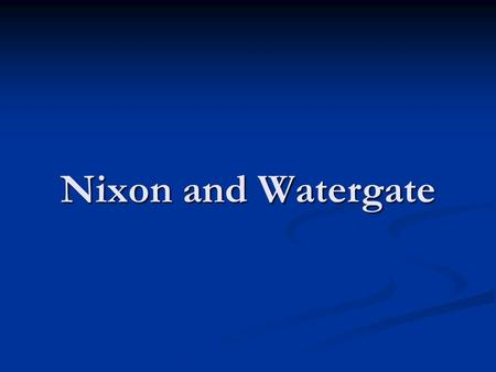 Nixon and Watergate. THE NIXON YEARS Domestic Agenda (1968-1974) Aimed to trim back social welfare programs—believed more responsibility for social programs.