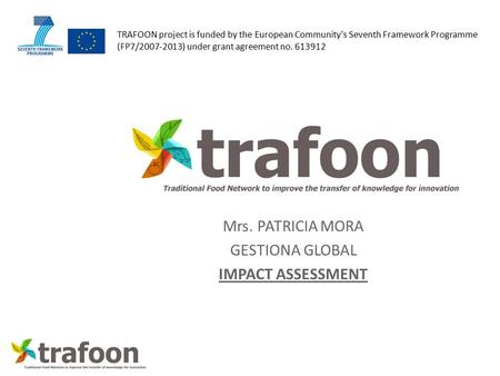 TRAFOON project is funded by the European Community's Seventh Framework Programme (FP7/2007-2013) under grant agreement no. 613912 Mrs. PATRICIA MORA GESTIONA.