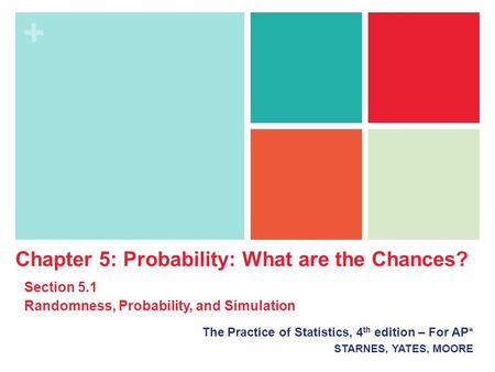 + The Practice of Statistics, 4 th edition – For AP* STARNES, YATES, MOORE Chapter 5: Probability: What are the Chances? Section 5.1 Randomness, Probability,