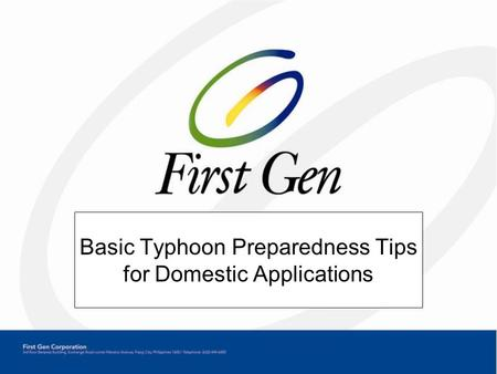 Basic Typhoon Preparedness Tips for Domestic Applications.