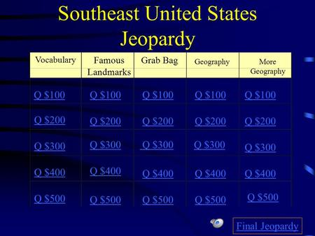 Southeast United States Jeopardy Vocabulary Famous Landmarks Grab Bag Geography Q $100 Q $200 Q $300 Q $400 Q $500 Q $100 Q $200 Q $300 Q $400 Q $500.