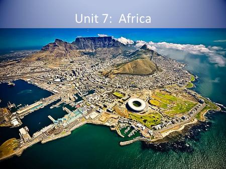 Unit 7: Africa. 20.1: The Land Landforms Deserts— – Sahara—largest desert in the world located in North Africa – Kalahari—located in Southern Africa.