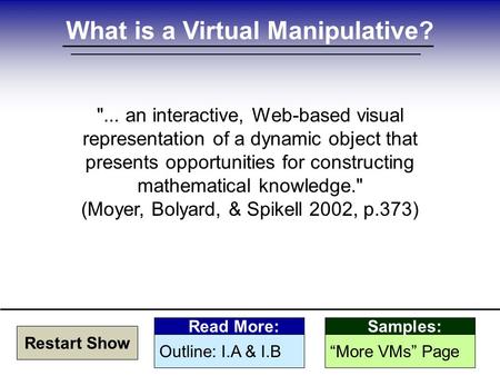 What is a Virtual Manipulative? ... an interactive, Web-based visual representation of a dynamic object that presents opportunities for constructing mathematical.