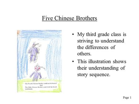 Five Chinese Brothers My third grade class is striving to understand the differences of others. This illustration shows their understanding of story sequence.