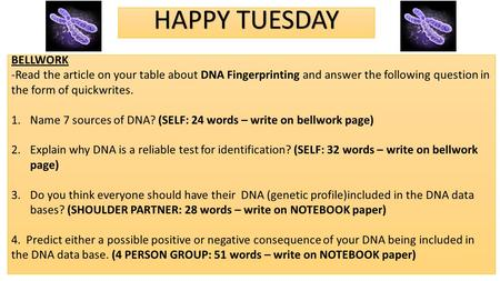HAPPY TUESDAY BELLWORK -Read the article on your table about DNA Fingerprinting and answer the following question in the form of quickwrites. 1.Name 7.