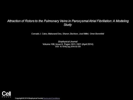 Attraction of Rotors to the Pulmonary Veins in Paroxysmal Atrial Fibrillation: A Modeling Study Conrado J. Calvo, Makarand Deo, Sharon Zlochiver, José.