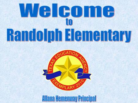 Randolph Elementary, R. E. S. Our parents serve the nation, Our school reflects the best. We're tops in academics, Pride and honor, too. With the colors.