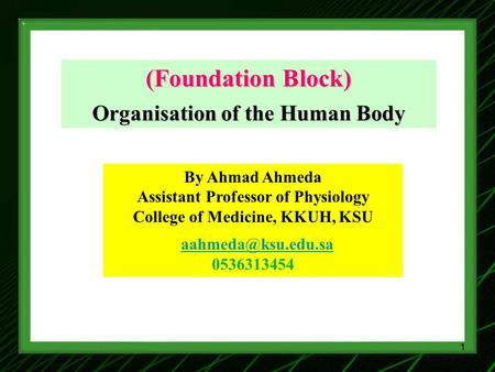 (Foundation Block) Organisation of the Human Body By Ahmad Ahmeda Assistant Professor of Physiology College of Medicine, KKUH, KSU 0536313454.