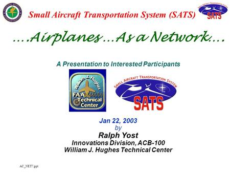 AC_NET7.ppt ….Airplanes …As a Network…. A Presentation to Interested Participants Jan 22, 2003 by Ralph Yost Innovations Division, ACB-100 William J. Hughes.