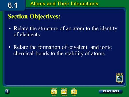 6.1 Section Objectives – page 141 Relate the structure of an atom to the identity of elements. Section Objectives: Relate the formation of covalent and.