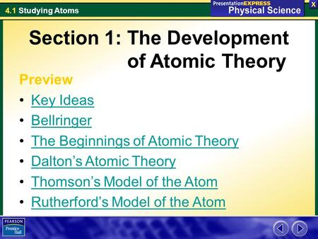 4.1 Studying Atoms Section 1: The Development of Atomic Theory Preview Key Ideas Bellringer The Beginnings of Atomic Theory Dalton's Atomic Theory Thomson's.