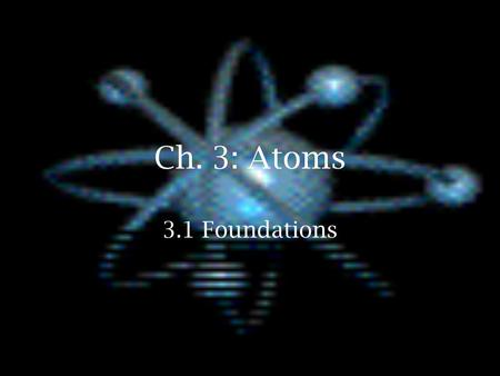 "Ch. 3: Atoms 3.1 Foundations. History  Democritus named the most basic particle named the most basic particle atom- means ""indivisible atom- means ""indivisible."