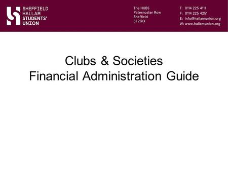 Clubs & Societies Financial Administration Guide.
