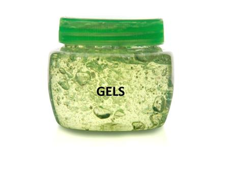 GELS. Gels are semisolid systems consisting of dispersions of small or large molecules in an aqueous liquid vehicle rendered jellylike by the addition.