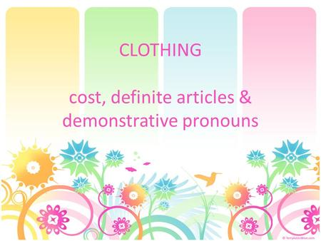 CLOTHING cost, definite articles & demonstrative pronouns.
