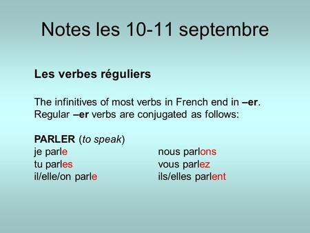 Notes les 10-11 septembre Les verbes réguliers The infinitives of most verbs in French end in –er. Regular –er verbs are conjugated as follows: PARLER.