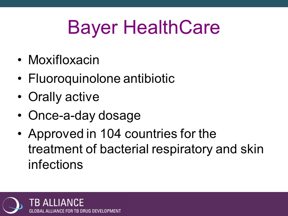 Bayer HealthCare Moxifloxacin Fluoroquinolone antibiotic Orally active Once-a-day dosage Approved in 104 countries for the treatment of bacterial respiratory and skin infections