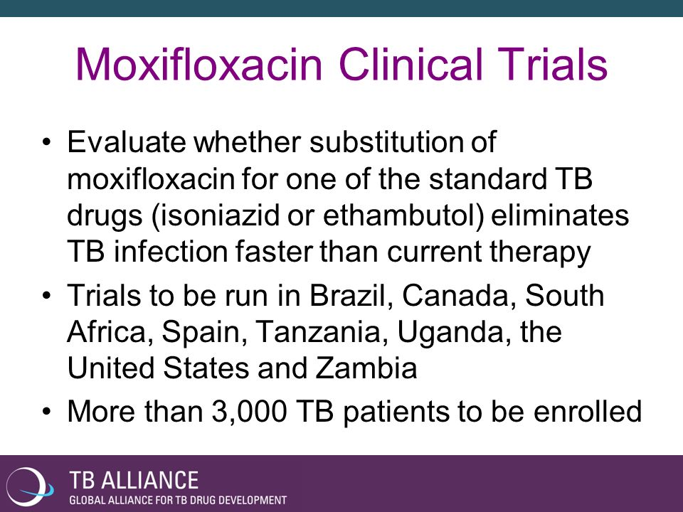Bayer Commitments Donate moxifloxacin for each clinical trial site Cover costs of regulatory filings Provide moxifloxacin at an affordable price for patients with TB in the developing world