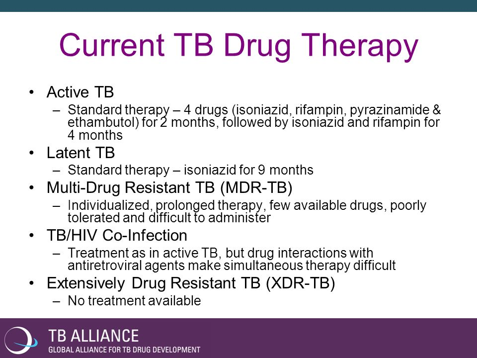 The Need for New TB Drugs Complex 6-9 months treatment with a 4 drug combination regimen No new anti-TB drug in over 40 years TB/HIV co-infections fueling each other MDR-TB is on the rise Unattractive market for private sector No capitalization of public sector research