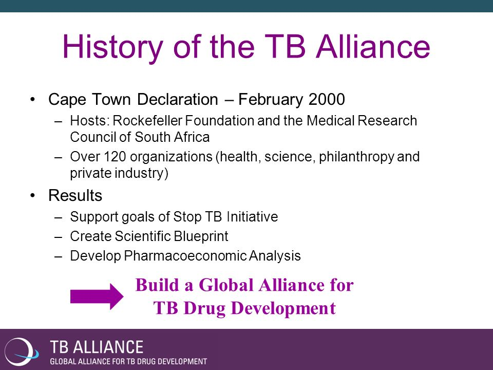 The TB Alliance Independent, international Product Development Partnership founded in October 2000 Non-profit organization Headquarters in New York City –Offices in Brussels and Cape Town Entrepreneurial, virtual R&D approach –Out-source R&D to public and private partners Pro-active fundraising –Over US $200 million raised Support ~ 200 FTE worldwide and 38 FTE in-house