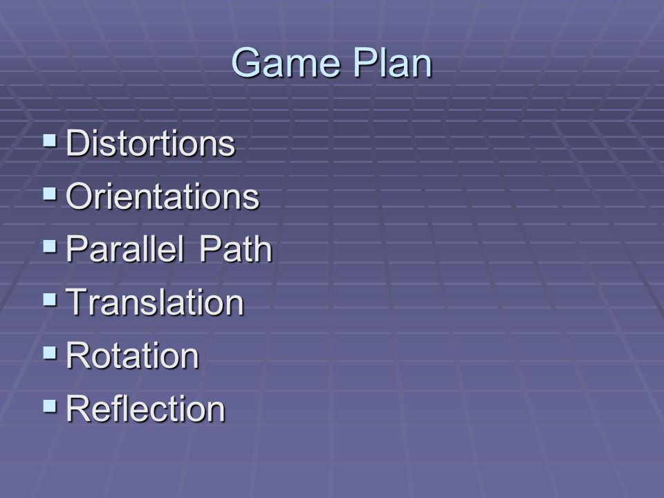 Game Plan Cont Combination – Glide Reflection Combination – Glide Reflection Combinations Combinations Single Isometry Single Isometry Similtudes Dilutation Similtudes Dilutation Series of Tranformation Series of Tranformation