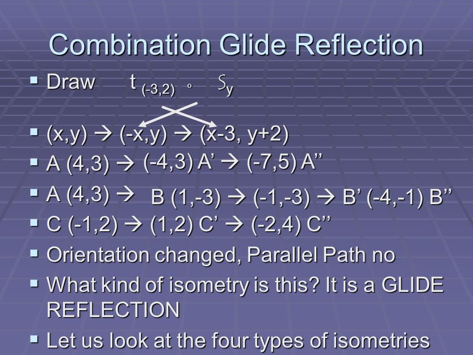 Single Isometry Any transformation in the plane that preserves the congruency can be defined by a single isometry.