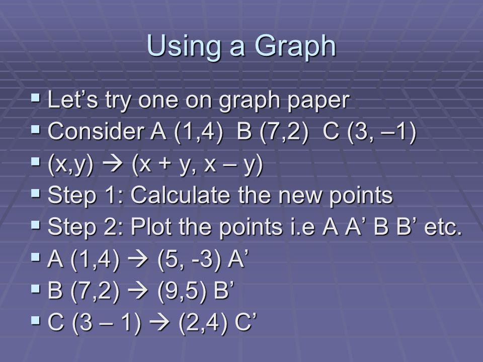 Ex#1: Put on Graph Paper AC B A B C Notice, this graph is off the page… make sure yours does not (x,y) (x+y, x-y) A (1,4) (5,-3) A B (7,2) (9,5) B C (3,–1) (2,4) C Formula Box