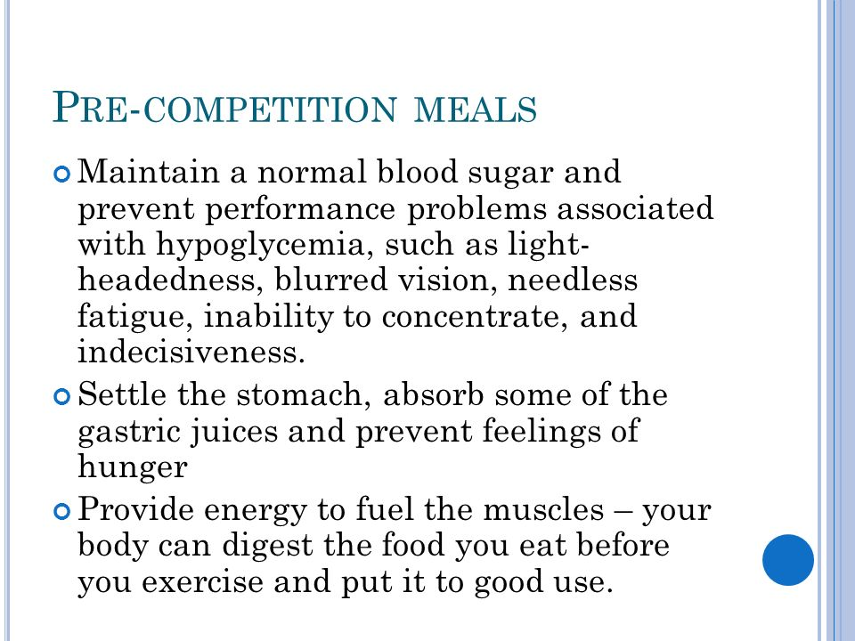 P RE - COMPETITION MEALS Use these general guidelines, however, everyones body is different and you might have to do some trial and error to find out what works best for you.