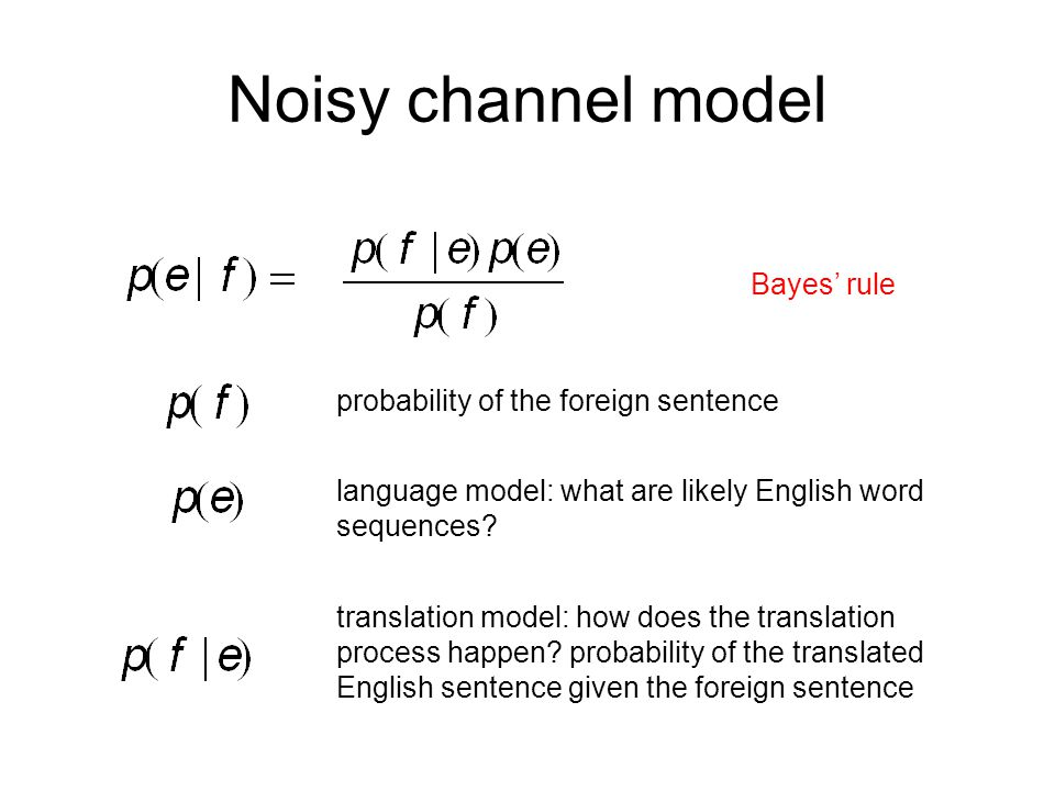 Noisy channel model Bayes' rule probability of the foreign sentence language model: what are likely English word sequences.