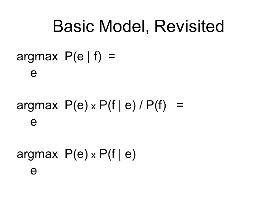 Basic Model, Revisited argmax P(e | f) = e argmax P(e) x P(f | e) / P(f) = e argmax P(e) 2.4 x P(f | e) … works better.