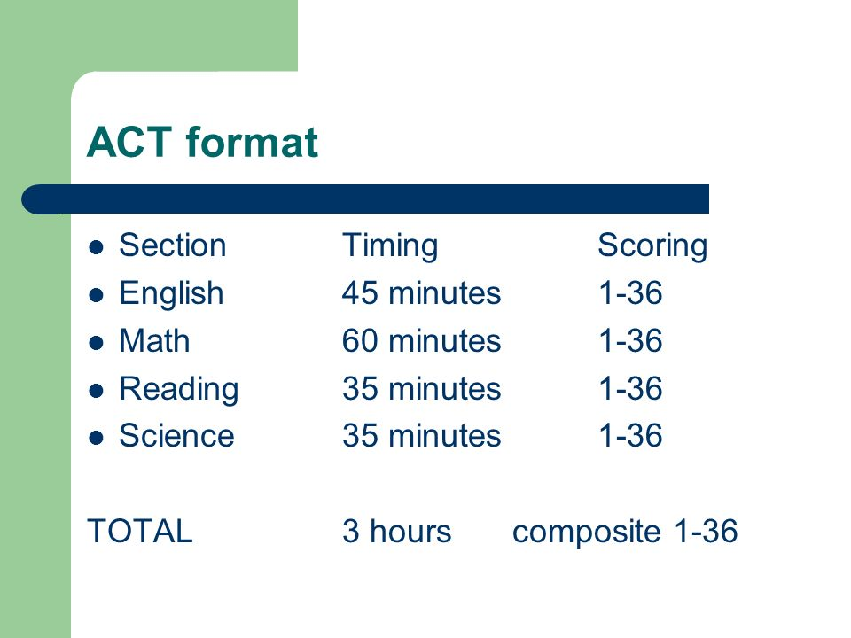 ACT scoring No guessing penalty Tests vary in difficulty from date to date Even single points affect percentile rankings in middle range (example: 20 equals 48%; 23 equals 70%) WorkKey questions carry more value.