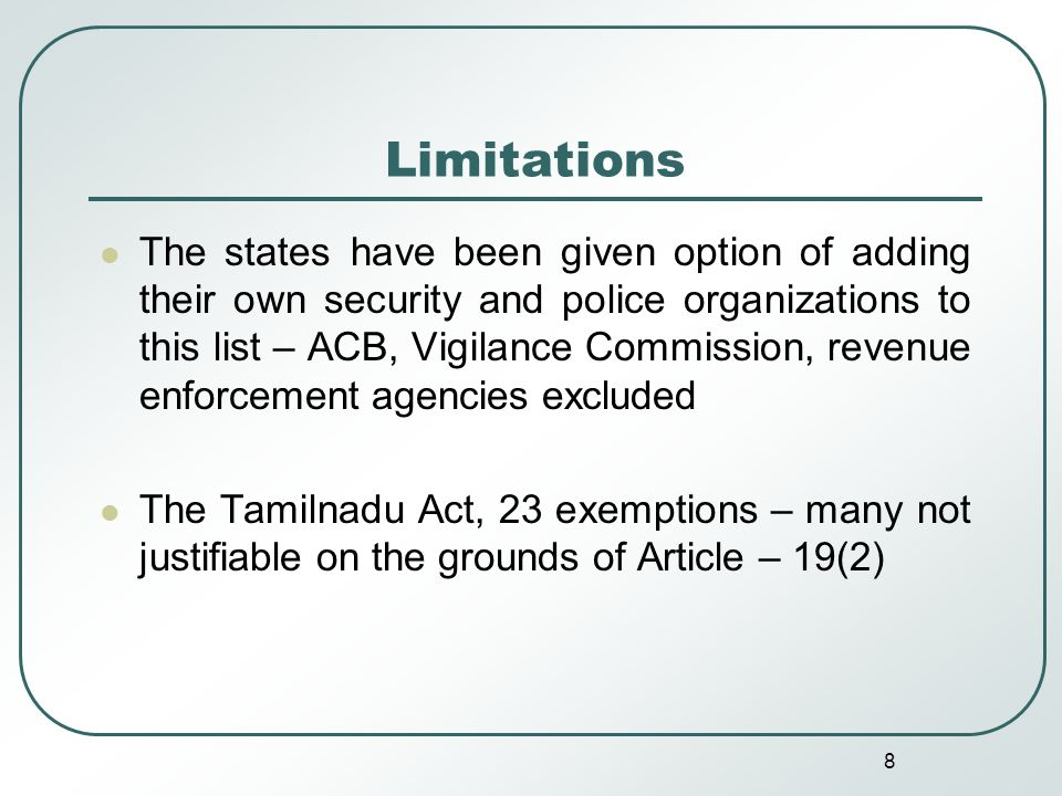 9 Limitations Allowing the competent authority to withhold any information on the ground that it interferes with the work of a government office or involves a disproportionate expenditure in collecting it
