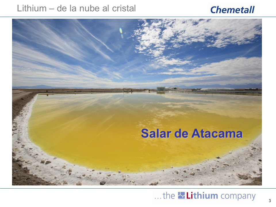 4 Sociedad Chilena de Litio (SCL) Chemetall's daughter company in Chile History  SCL was established in August 13, 1980  First brine production in 1984  Lithium Carbonate plant (Li 2 CO 3 TG) since 1984  Potassium Chloride plant (KCl) since 1988, at El Salar  Lithium Chloride plant (LiCl) since 1997  High Purity Lithium Carbonate (Li 2 CO 3 HP) since 2004  Other products -Magnesium chloride (MgCl 2.6H 2 O) -Sodium Chloride (NaCl) -Potash (KCl)  Chemetall has invested about 10 Mio USD/year during the last 5 years  Chemetall employs about 200 people in Chile, of which about 70 people live in Peine area