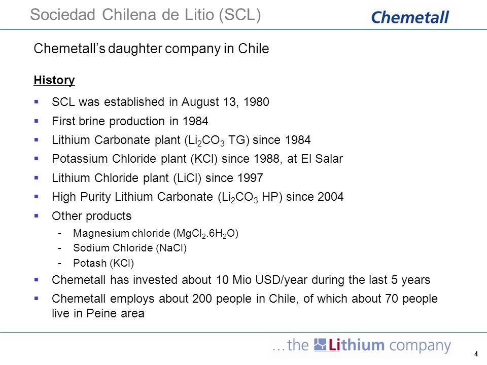 5 Chemetall's strategic position in Lithium  world's largest producer of lithium salts and Lithium based organic specialties  more than 50% market share for Lithium Products; for Li 2 CO 3 market share is approx.