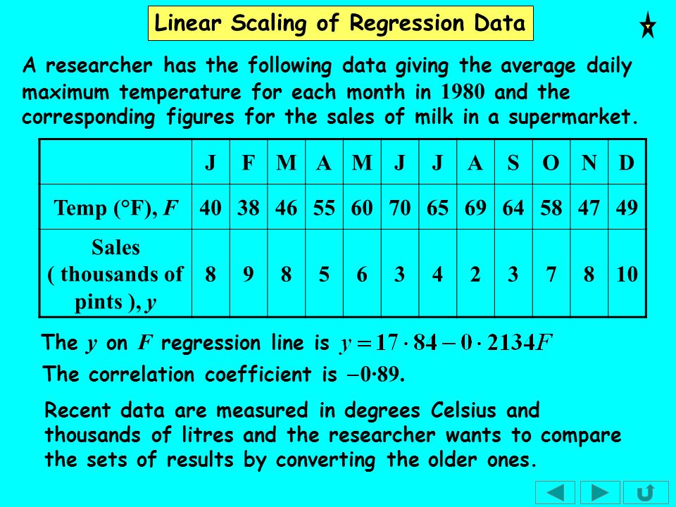 Linear Scaling of Regression Data To convert from pints to litres, we must divide by 1·76 so, if Y is the new variable, The conversion from degrees Fahrenheit to degrees Celsius is As the conversions are both linear, instead of converting all the data we can simply substitute into the regression line.